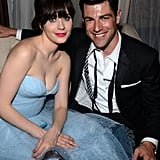 New Girl costars Zooey Deschanel and Max Greenfield sat together at an afterparty.