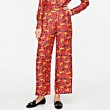J. Crew Collection silk twill pull-on pant in jungle cat floral print