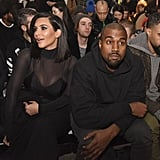 For a front-row appearance at NYFW, Kim went sheer, but Kanye kept it cotton.