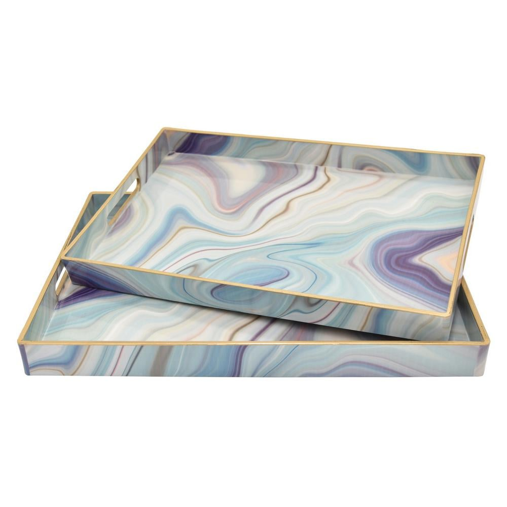 Three Hands Multicolored Tray (Set of 2)