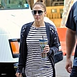 Jennifer Lopez's Striped Dress and Ripped Cardigan