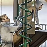 Gisele Bundchen helped her son Benjamin Brady climb on the playground equipment.