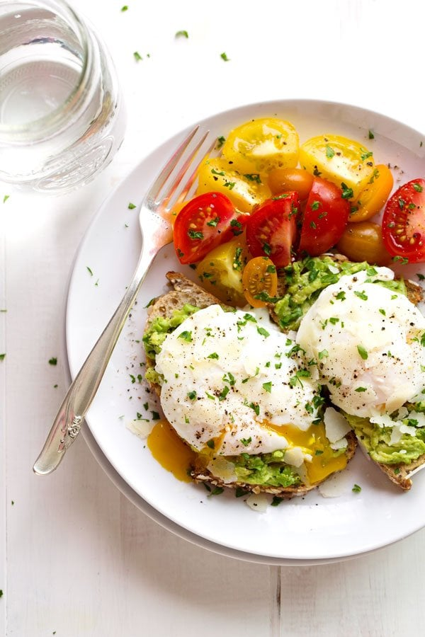 Avocado Toast With Poached Eggs and Parmesan