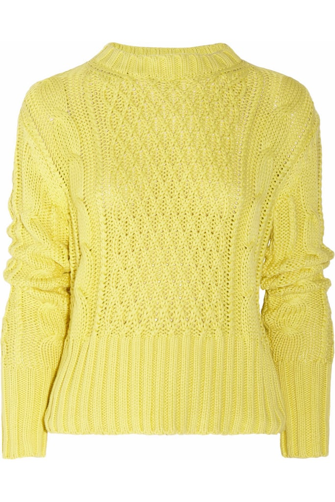 Not only does Acne's Lia Cable-Knit Sweater ($300) come in the cheeriest shade of yellow, but its fitted silhouette is also great for hugging curves.