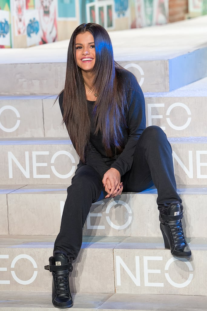 Selena Gomez's megawatt smile lit up the Adidas NEO event during Mercedes-Benz Fashion Week in NYC on Wednesday.