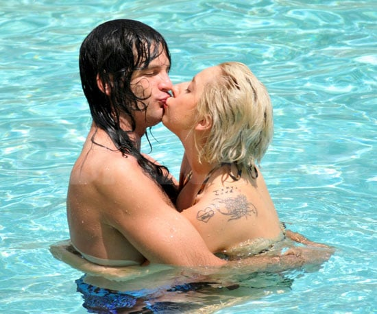 Slide Picture of Lady Gaga Kissing Luc Carl in Pool