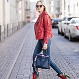 Skinny Jeans, a Red Leather Jacket, and Bicolour Ankle Boots