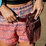 These neon printed shorts paired perfectly with this burgundy fringed 84Rockwell bag and made a cool color combination.