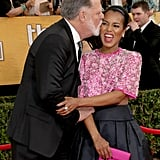 Kerry Washington couldn't resist a kiss from Taylor Hackford.