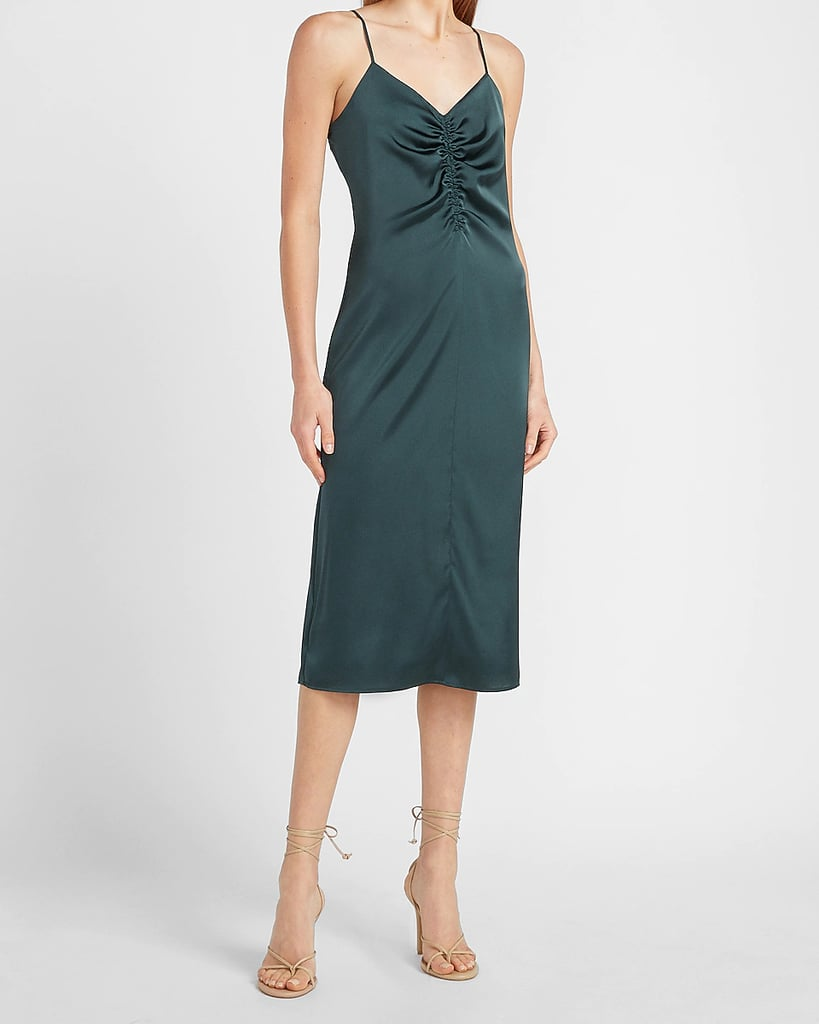 For a Hot Date: Express Satin Ruched Front Slip Dress