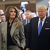 Melania wore her blazer as part of a suit set to the United Nations General Assembly meeting in September 2017.