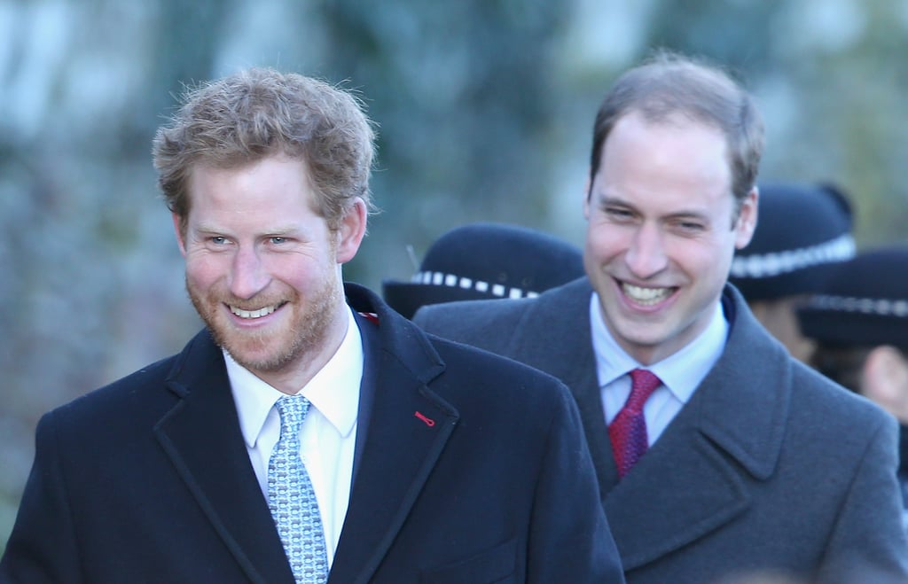 Prince Harry showed off his beard when they attended the Christmas Day church service at Sandringham in December 2013.