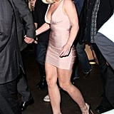 Britney wore a sexy, nude wrap dress to the birthday party.