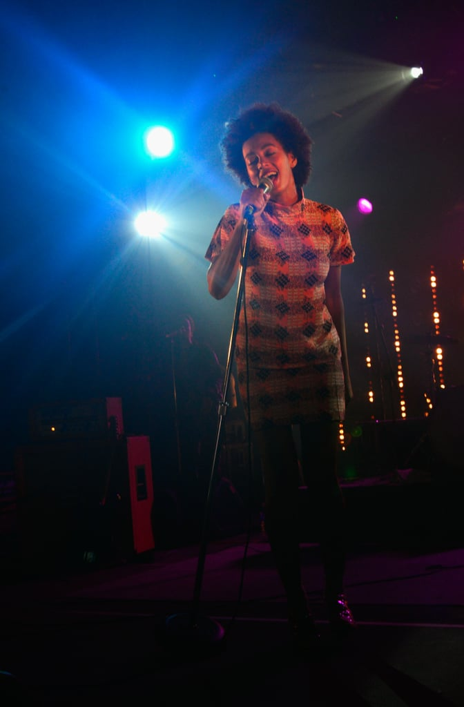 Solange took the stage in a printed skirt and top set at the Hype Hotel.