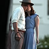 Ryan Gosling and Emma Stone shared a kiss on the set of The Gangster Squad.