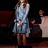 Sarah Jessica Parker took to the mic while Anne Hathaway looked on.