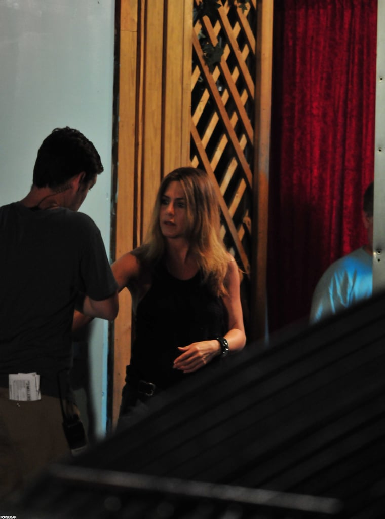 Justin Theroux visited Jennifer Aniston on the set of We're the Millers in Wilmington, NC.