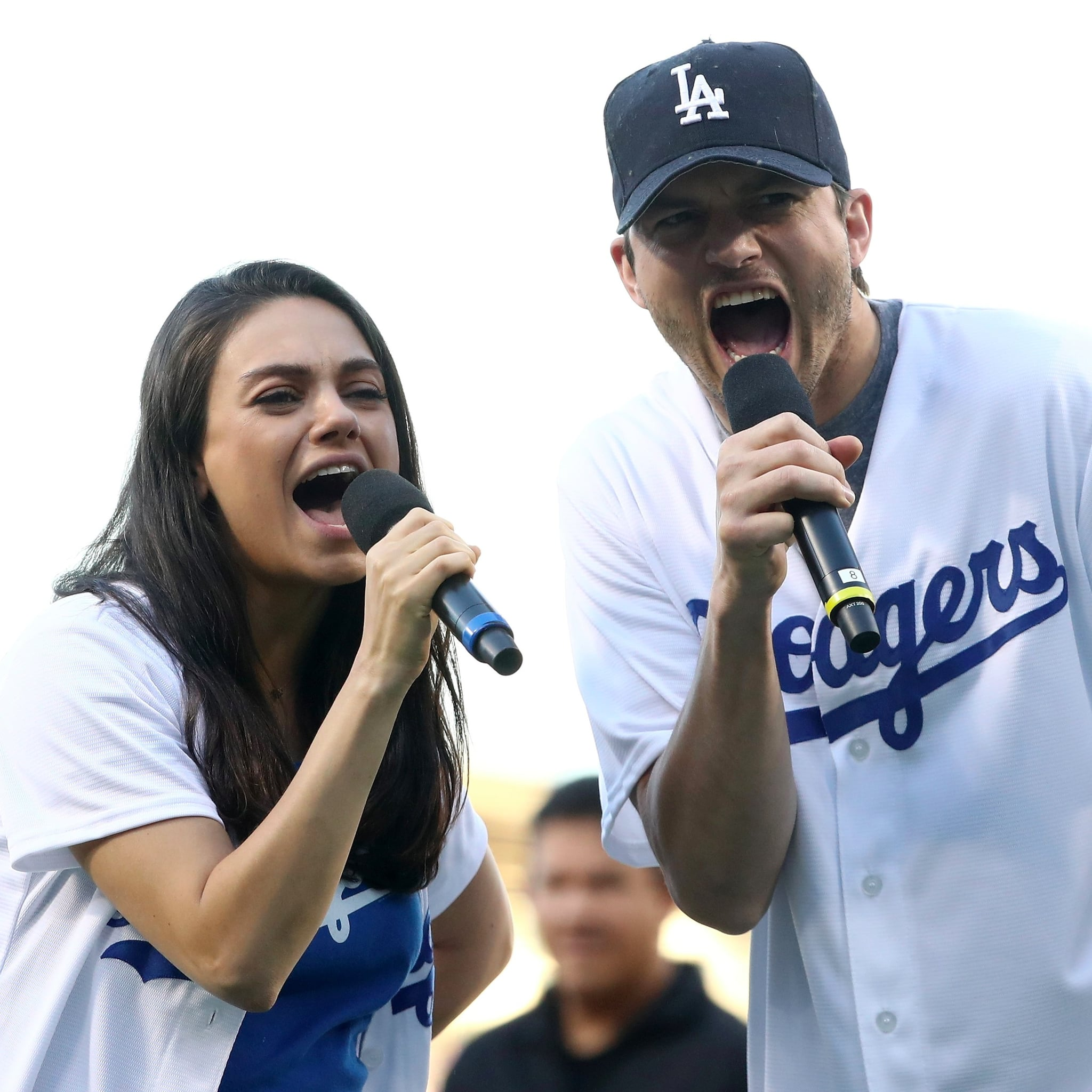 Ashton Kutcher And Mila Kunis At La Dodgers Game Oct 2016