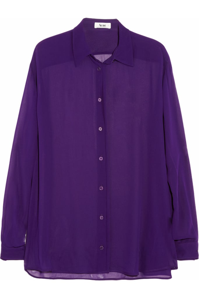 Acne's Shining Crepe Shirt ($260) would look great with skinny black trousers and ankle boots.