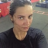 Adriana Lima snapped a photo after a sweaty workout. Source: Twitter user AdrianaLima