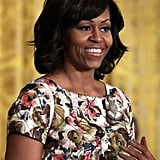 "Let's zoom in on the ""inside out"" floral pattern of Michelle Obama's Thakoon dress."