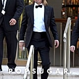 Brad Pitt carried a drink outside the Eden Roc hotel in Cannes in May.