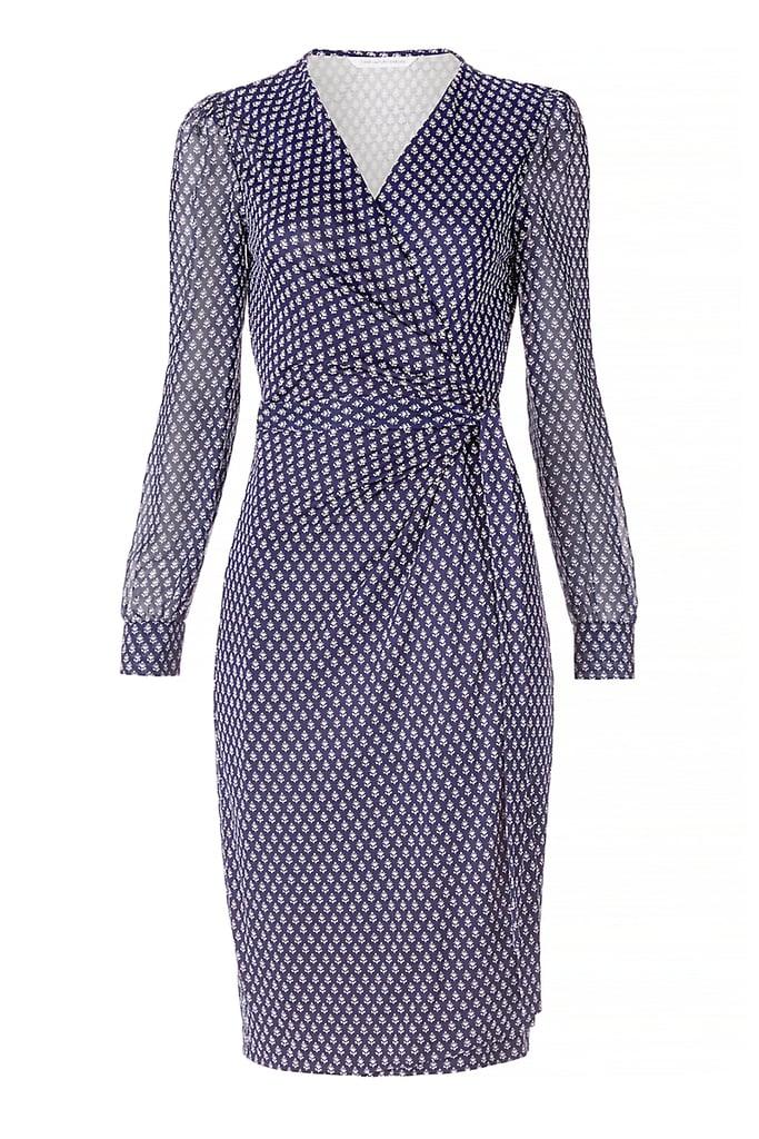 DVF 'Sigourney' Chiffon and Silk Combo Wrap Dress ($468)