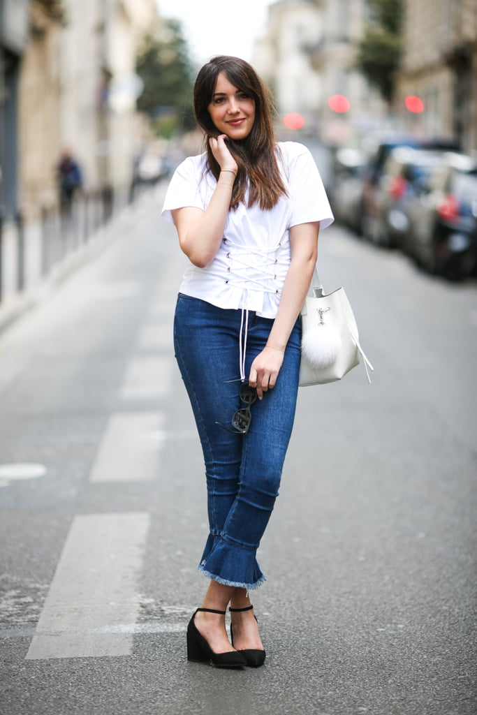 Give denim and your white tee an update when you add a corset.