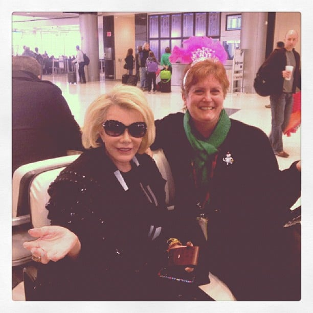 Joan Rivers celebrated New Year's Eve with a layover in Houston, TX. Source: Instagram user joan_rivers
