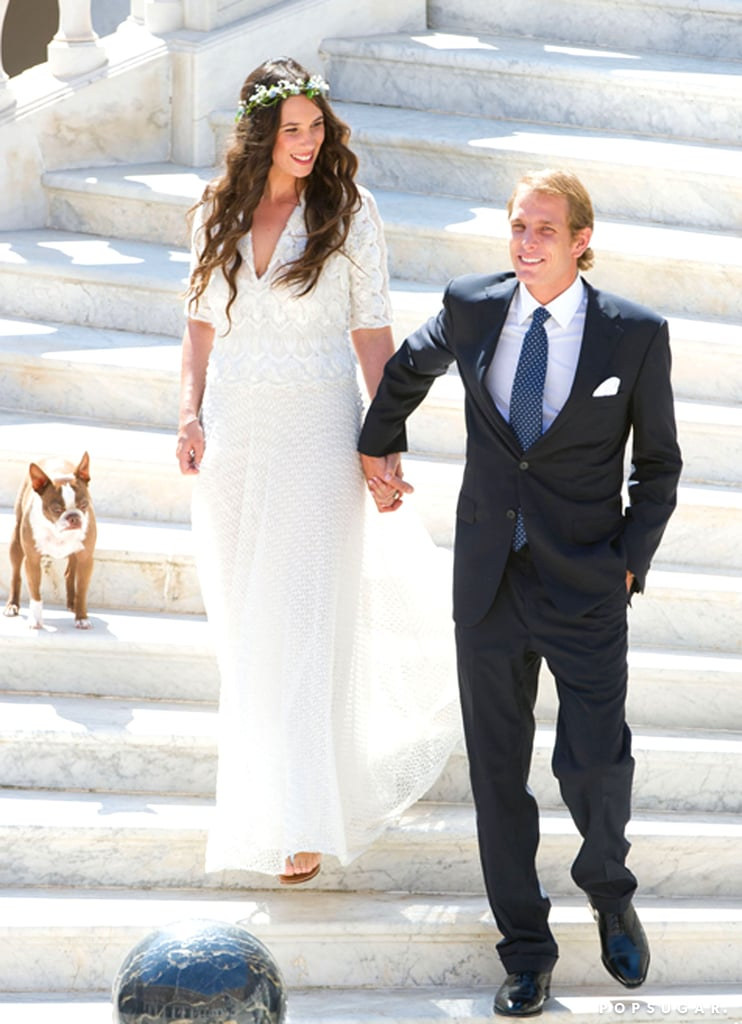 Andrea Casiraghi held hands with his bride, Tatiana Santo Domingo, alongside their pup.