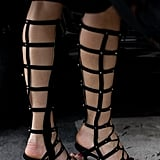 This Fashion Week attendee showed off one of the trickiest shoe trends of the season: sandal boots.