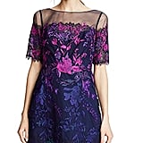 Marchesa Ombre Cocktail Dress with Floral Embroidery