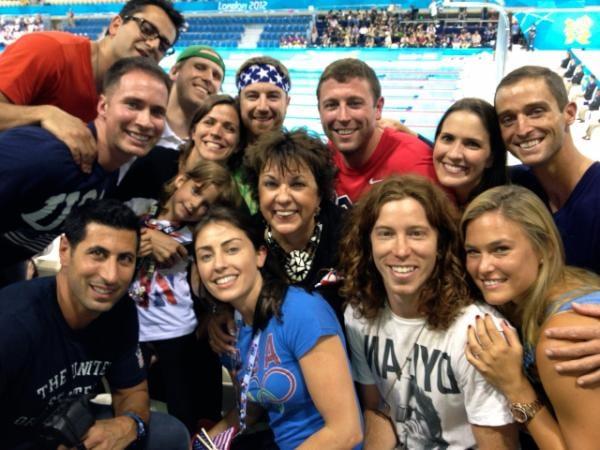 Shaun White and Bar Refaeli celebrated the men's 4 x 200 relay win with Michael Phelps's family.  Source: Twitter user shaun_white