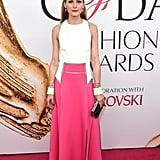 Olivia chose a colorblock Carolina Herrera piece for the CFDA Fashion Awards in 2016.