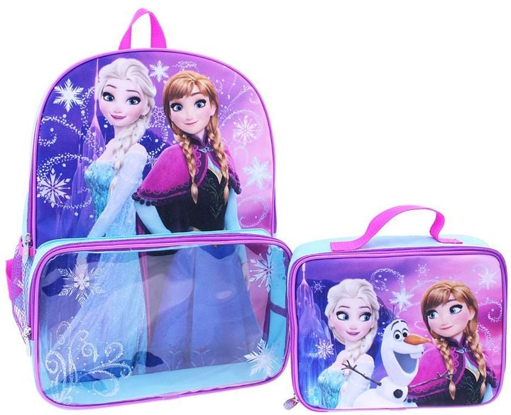 Frozen Anna and Elsa Girls Backpack and Lunch Box Set