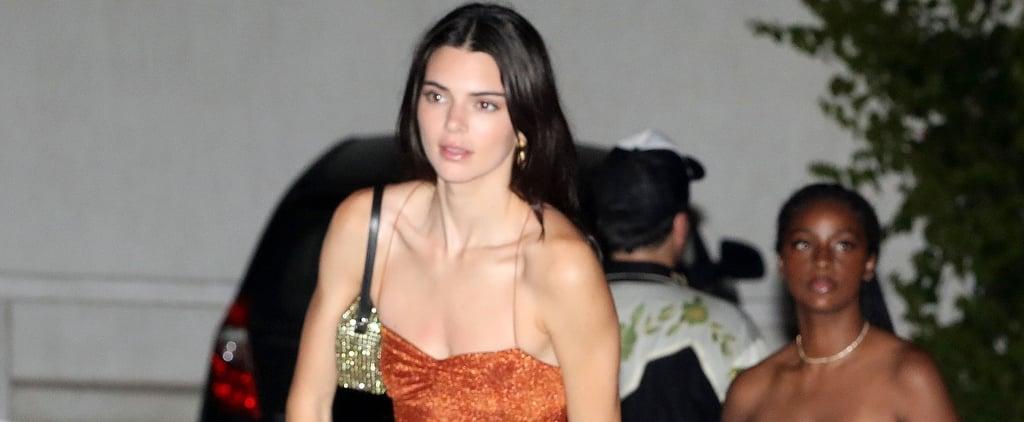 Kendall Jenner Orange Dress and Sneakers in Mykonos