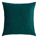 Dark Teal Quilted Velvet Throw Pillow