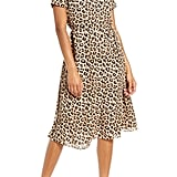 Avec Les Filles Leopard Mock Neck Short Sleeve Dress