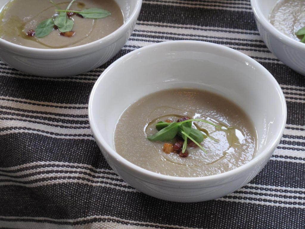 My favorite dish of Tyler's, however, was a Jerusalem artichoke soup, topped with what looked like crispy guanciale, microgreens, and smoked olive oil that's sold at his Mill Valley shop. Every element added a key component to the soup.