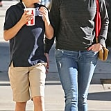Reese Witherspoon shared a special moment with her son Deacon, as the foursome walked down the sidewalk.