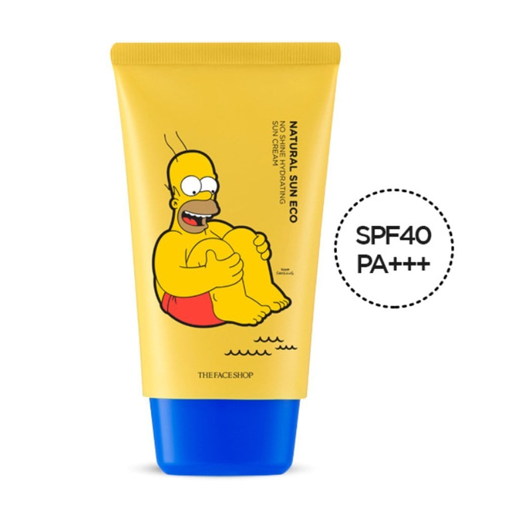 The Face Shop x The Simpsons Natural Sun Eco No Shine Hydrating Sun Cream SPF40