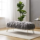 Ornavo Home Modern Contemporary Faux Fur Bench