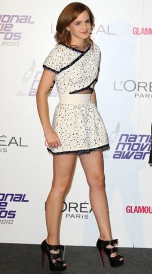 Emma Watson Wears Karl Lagerfeld and Christian Louboutin to National Movie Awards