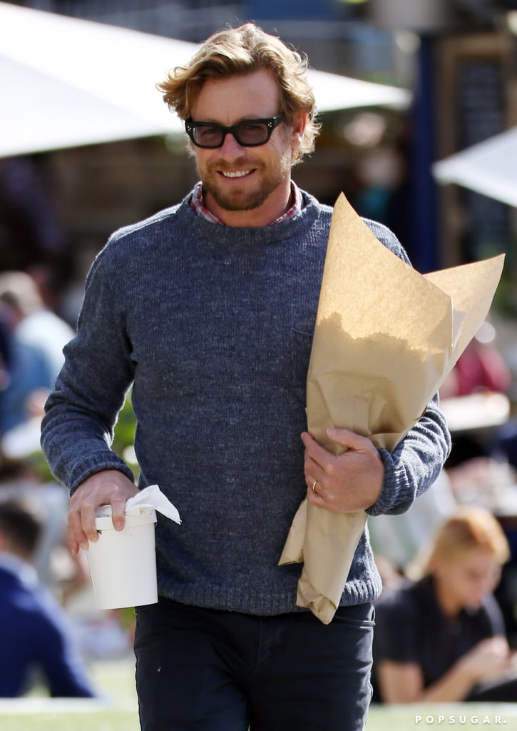 Simon Baker was spotted picking up some essentials at a farmers market in Sydney, Australia on Wednesday. The former star of The Mentalist sported a sweater, jeans, and a big smile as he picked out bouquets of flowers and stopped at a food truck to grab something to eat — he's basically on the way to your house for a laid-back date, right? Simon is likely enjoying his downtime since the end of his CBS series; he recently headed to the Cannes Film Festival to pitch his directorial debut, Breath, in which he plays a reclusive surfer in 1970s Australia. See Simon's hands-down hottest moments and what other sexy stars would look like while they're on a date with you.