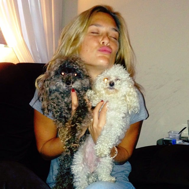 Bar Refaeli snuggled with her two pups, Pucci and Mish Mish. Source: Instagram user barrefaeli