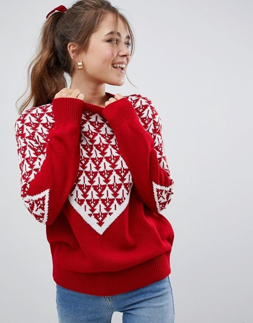 ASOS Design Christmas Tree Knitted Sweater
