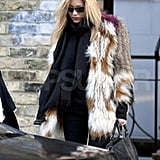 Kate Moss rocked fur in the UK.