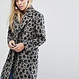 Glamorous Smart Coat in Monochrome Leopard Print