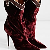 Malone Souliers Daisy Leather-Trimmed Velvet Ankle Boots