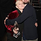 Justin gave Ellen a big hug after presenting her with her 20th People's Choice Award in 2017.
